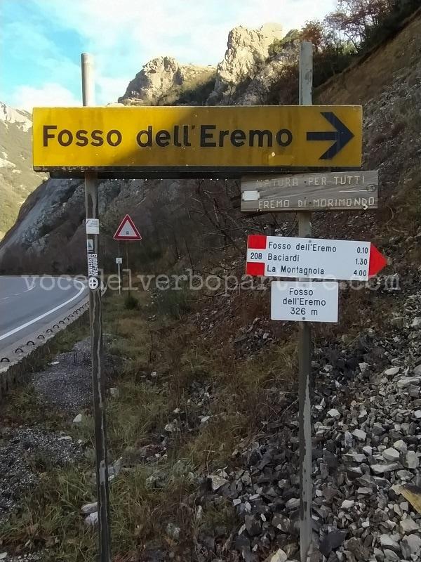 DOVE INIZIA IL SENTIERO ESCURSIONE AL FOSSO DELL'EREMO